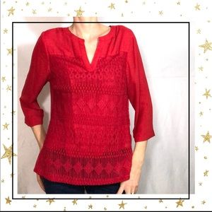 Zac&Rachel Petite Red  button down blouse (D5)